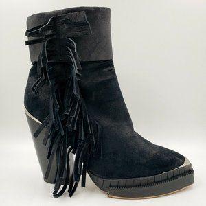 Jeffrey Campbell Black Western Fringe Heel Boots